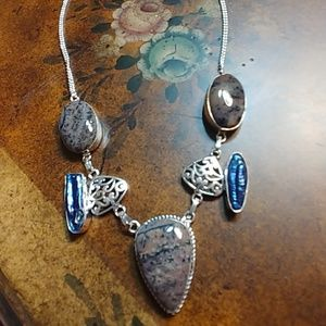 Jewelry - Sterling Silver Dendritic opal/Pearl necklace.
